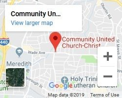 Google Map to Community United Church of Christ Raleigh meeting