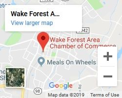 Google Map to Wake Forest Area Chamber of Commerce meeting